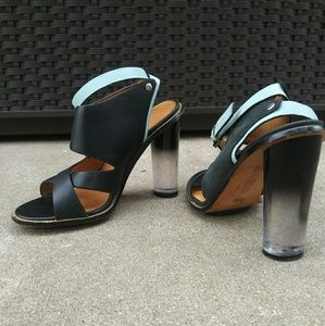 L.A.M B. Acrylic chunky heel leather sandals 6.5
